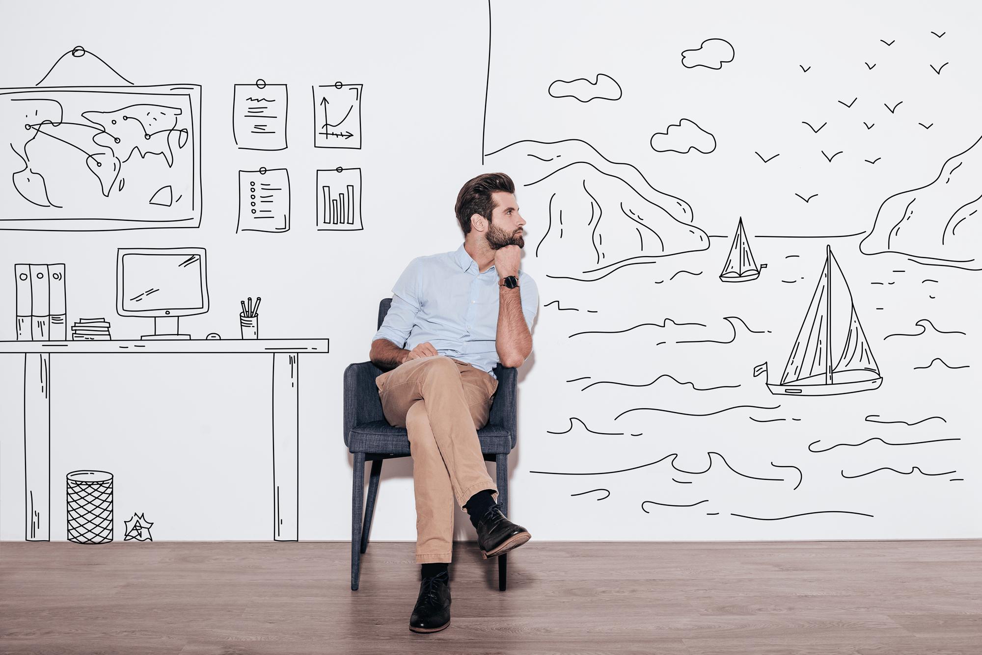 Ung mann holder hånden under haken og ser utover en illustrasjon av en fjord. Ilustrerer at mannen dagdrømmer.